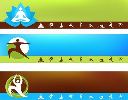 A set of vector banner templates - Yoga  theme