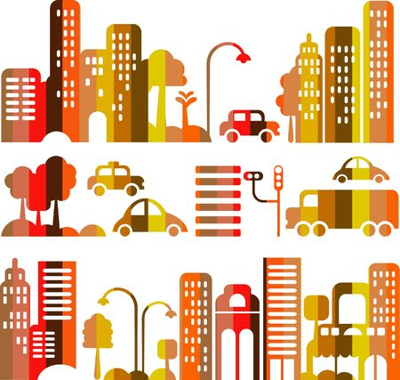 Vector illustration of an evening city street with  icons of cars, trees and buildings Stock Illustration - 6451922