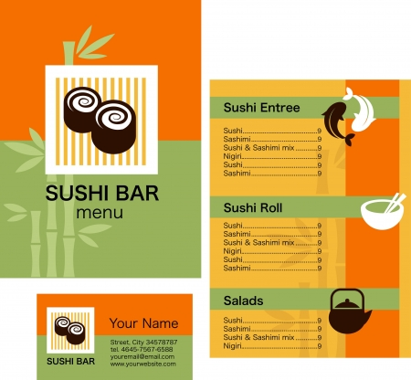 Template of sushi menu and business card with orange and green background photo