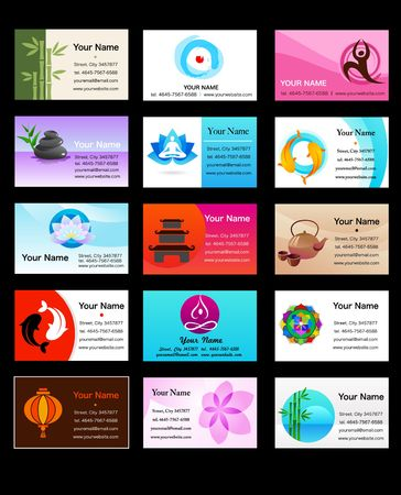 Yoga and Zen business card templates - vector illustration