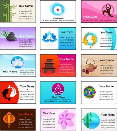 oriental medicine: Yoga and Zen business card templates - vector illustration