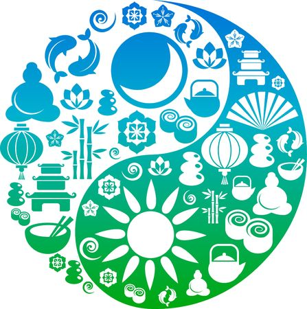 Vector Yin-Yang with collection of Zen and oriental icons Stock Photo - 6451942