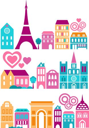 Vector illustration of a cities of the world with colorful icons of trees and buildings Stock Illustration - 6451952