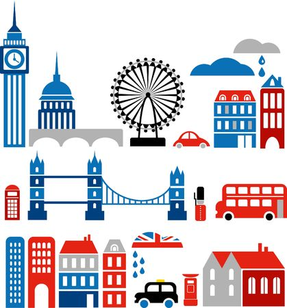 Vector illustration of London with colorful icons of routemaster buses and landmark buildings illustration