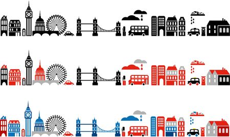 Vector illustration of London with colorful icons of double-deck buses and landmark buildings illustration