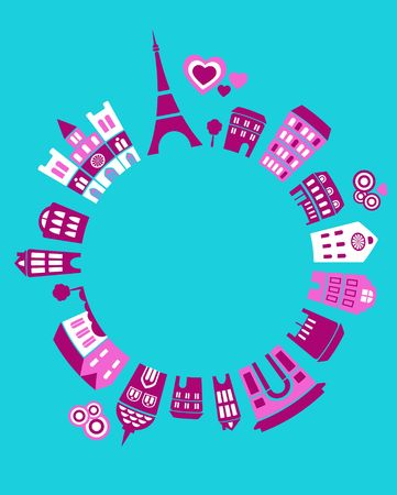 Vector illustration of Paris landmarks with colorful icons of trees and buildings illustration
