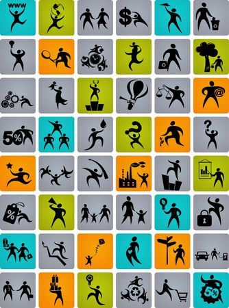 Collection of abstract human figures, logos and icons photo