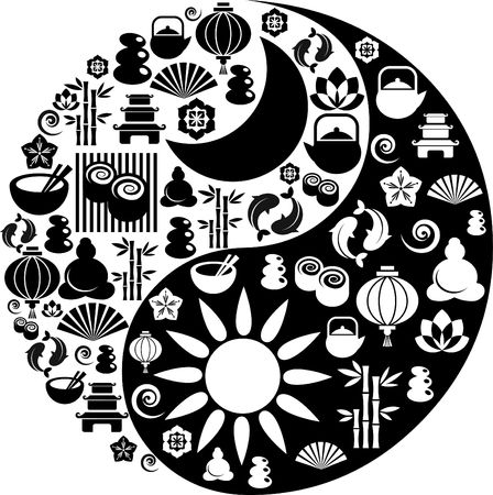 Vector Yin-Yang with collection of Zen and oriental icons  photo