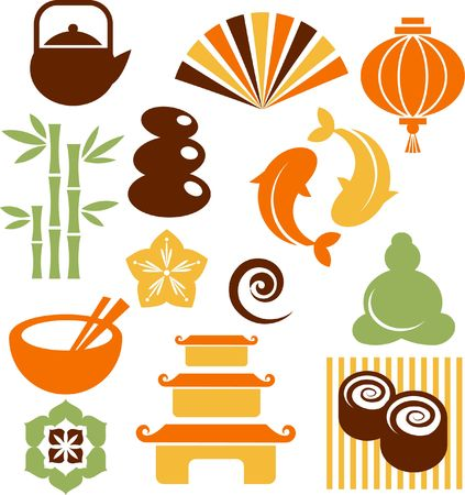 zen vector: Collection of colorful Zen icons - vector illustration