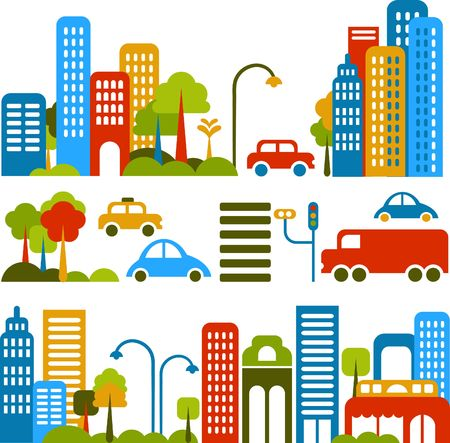 city: Vector illustration of a city street with colorful icons of cars, trees and buildings