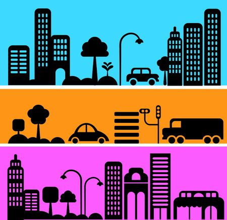 Vector illustration of a city street with icons of cars, trees and buildings illustration