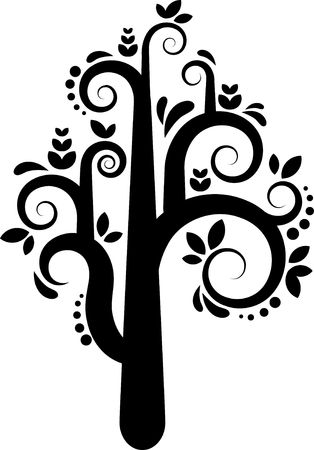 Black and white vector tree with leafs and flowers photo