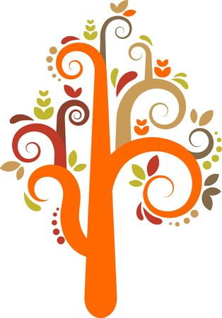 primavera: Colorful cutout vector tree with leafs and flowers Stock Photo
