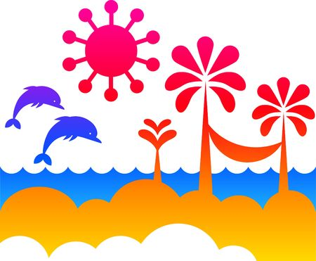 Summer vacation colorful background Stock Photo - 6451939