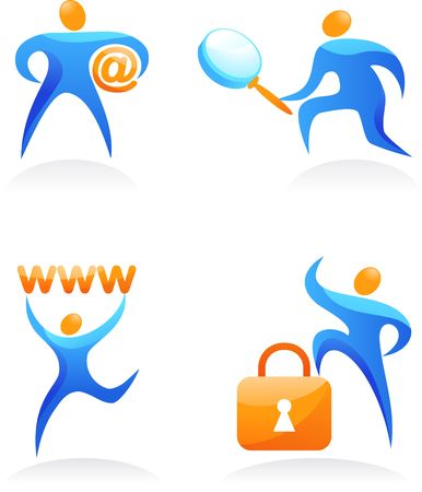 Collection of abstract people figures, logos and icons - web and SEO photo