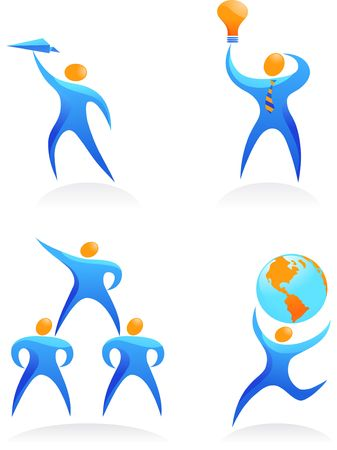 Collection of abstract people figures, logos and icons - global cooperation photo
