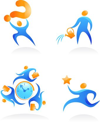 Collection of abstract people figures, logos and icons - teamwork and growth Stock Photo - 6451908