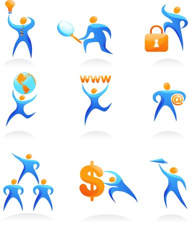 Collection of abstract people figures, logos and icons - web and SEO Reklamní fotografie