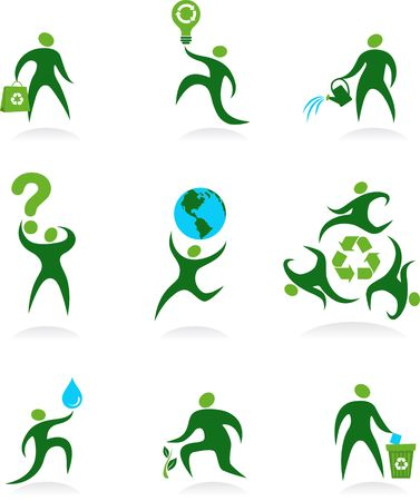 Collection of abstract people figures, logos and icons- preservation of environment photo