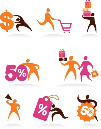 Collection of abstract people figures, logos and icons - shopping