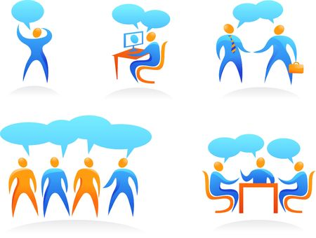 Collection of abstract people figures, logos and icons - business and teamwork photo
