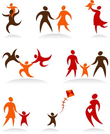 Collection of abstract people figures, logos and icons - family theme photo