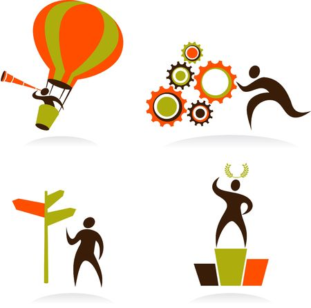 Collection of abstract people figures, logos and icons - technology and business photo
