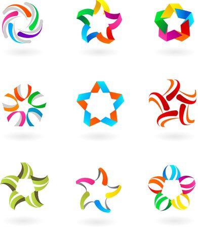 Conjunto de vector abstracta logotipos, s�mbolos e iconos - 3  Foto de archivo - 6481659