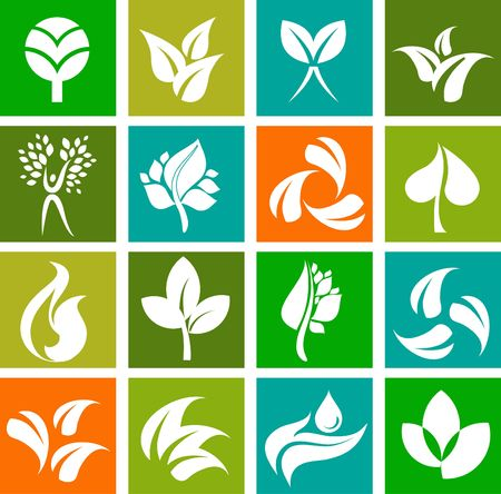 Collection of nature icons and logos - set  photo