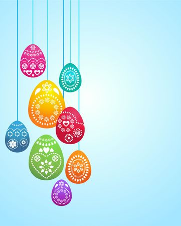 Easter card template with hanging colored eggs Stock Photo - 6481677