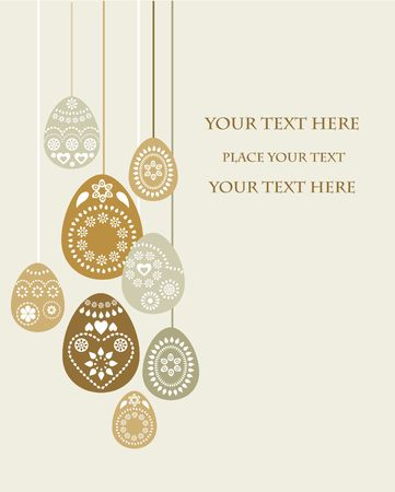 golden eggs: Easter card template with golden eggs Stock Photo