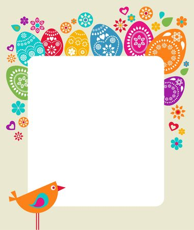 cute rabbit: Easter card template with colored eggs, flowers and a bird
