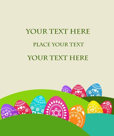 Easter card template with colored eggs photo