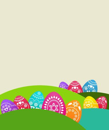 Cute background with colored Easter eggs