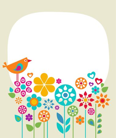 Easter card template with flowers and a bird Stock Photo - 6481658