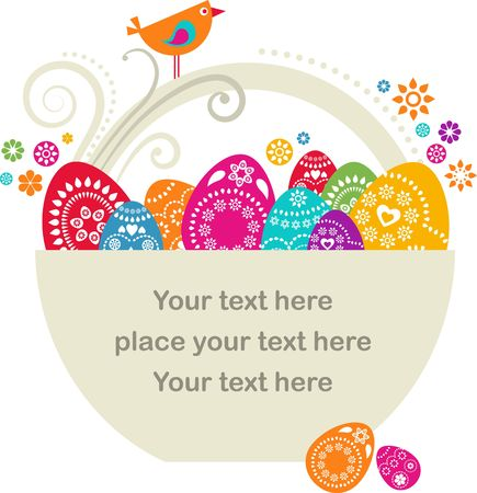 cute rabbit: Easter card template -  basket with colored eggs and flowers Stock Photo