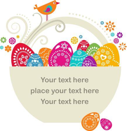 pascuas navide�as: Plantilla de tarjeta de Pascua - la cesta con huevos colores y flores Foto de archivo