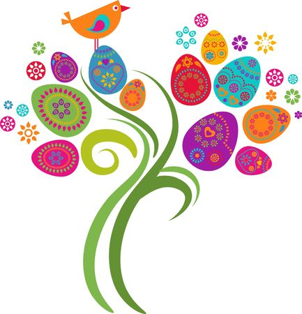 colored eggs: Easter tree with colored eggs and flowers Stock Photo
