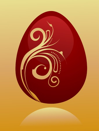 Easter card template with chocolate egg and floral pattern Stock Vector - 6520366