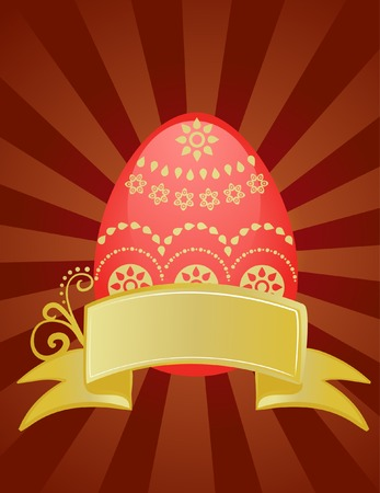 Easter card design with chocolate background and red egg Stock Vector - 6520370