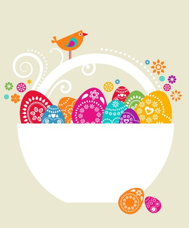 colored eggs: Easter card template with colored eggs in a white basket Illustration