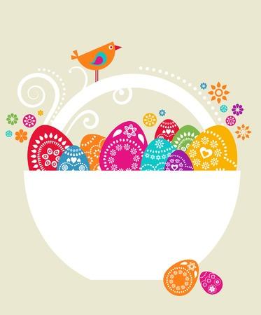 uova d oro: Modello di scheda di Pasqua con colorate le uova in un paniere bianco