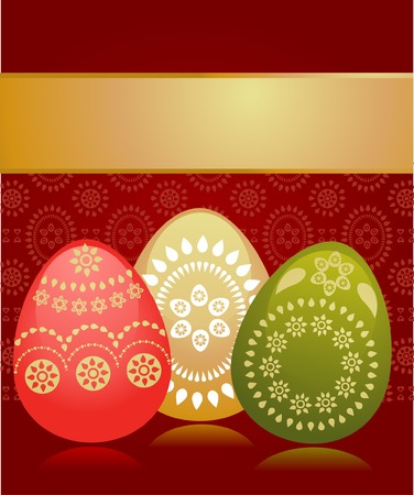 Easter card template with three colored eggs and golden background Vector