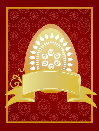 Easter card template with golden egg and ribbon Stock Vector - 6520368