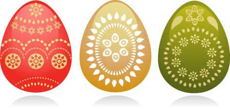 thre Easter eggs with golden paisley design