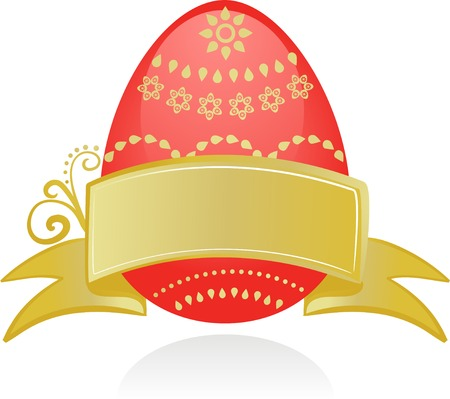 Easter card template red egg and golden ribbon Stock Vector - 6520369