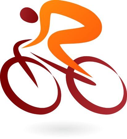 montando bicicleta: Icono de ciclista de naranja y marr�n - ilustraci�n vectorial elegante