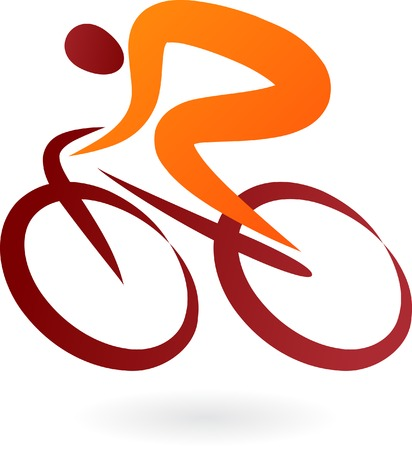 cyclist: Orange and brown cyclist icon - elegant vector illustration