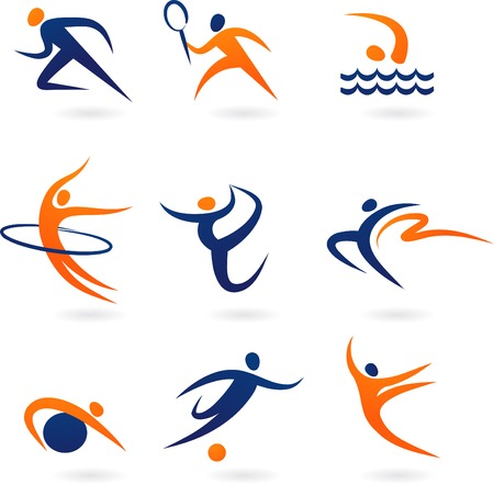 swim race: Iconos de deporte de conjunto ofblue y naranja