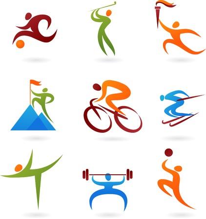 sportsmen: Set of colorful sport icons Illustration
